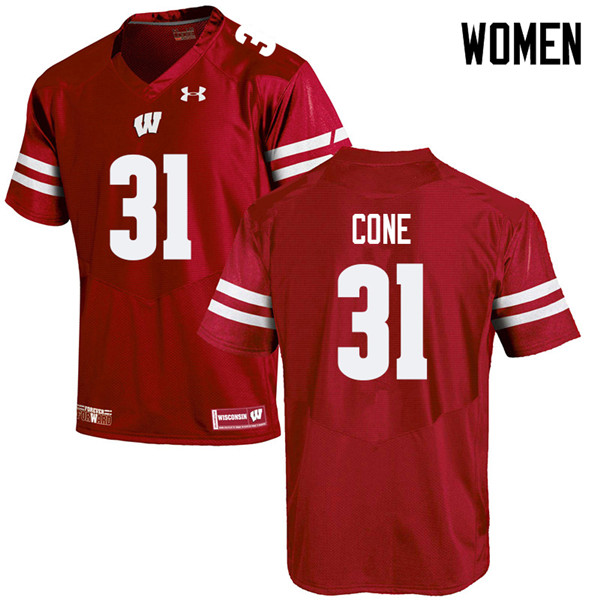 Women #31 Madison Cone Wisconsin Badgers College Football Jerseys Sale-Red